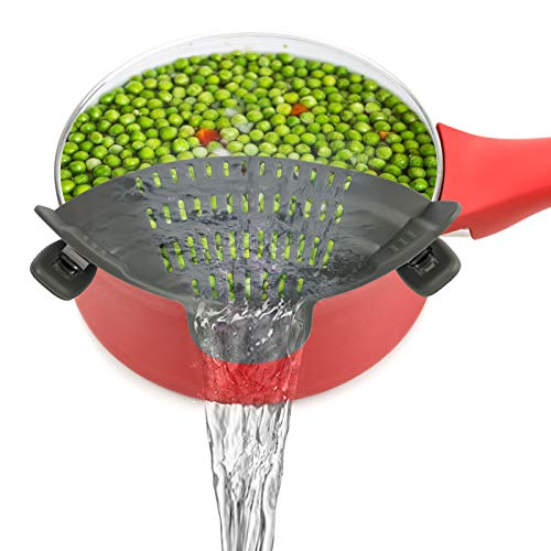 Snap N Strain Strainer, Clip-On Silicone Colander Fits all Pots, Pans and Bowls, Heat Resistant...