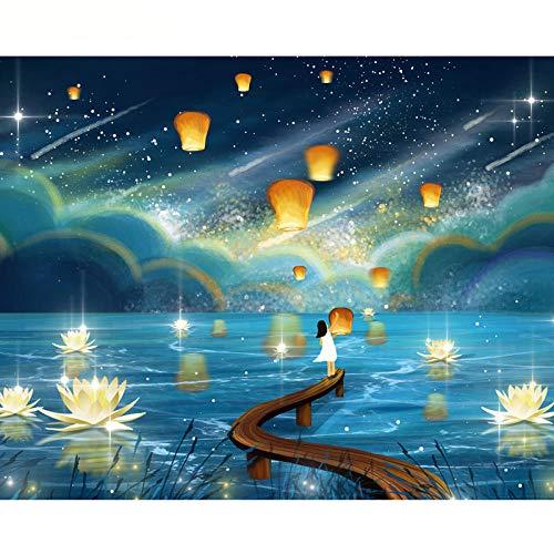 Wzjxzsynl Thema Digital Ölgemälde Leinwand Kits Fliegende Kong Ming Laterne am Nachthimmel DIY Geschenke für Erwachsene Kinder Anfänger Geburtstag Hochzeit Home Dekorationen