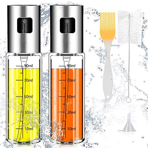 Ansmio - 2 pulverizadores de aceite de oliva multifunción, 5 en 1, vinagre, dispensador de aceite con tubo y embudo, para cocinar, barbacoa, pasta, ensalada