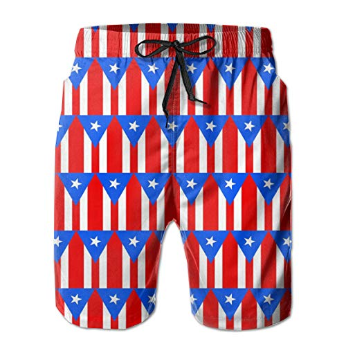 opi 90iuop Herren Badehose Flagge von Puerto Rico Muster Quick Dry Beach Shorts mit Taschen Mesh Futter