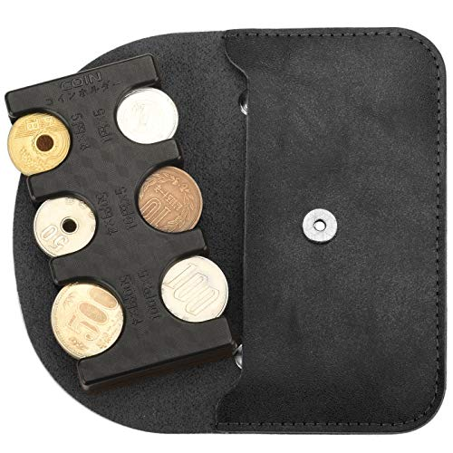 MM&UU Coin Holder with Mini Case, Invisible, Coin Storage, Classify Coins, Silicone Stopper, Does Not Fall Out, Can Be Removed with One Hand, Black (Exclusive Case Sold Separately)