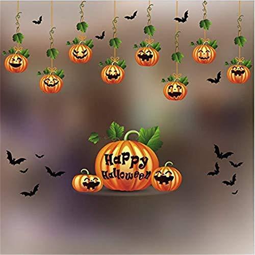 Markcur Halloween Kürbis Fensterbild Abnehmbare Fensterdeko Statisch Haftende PVC Aufkleber Winter Dekoration