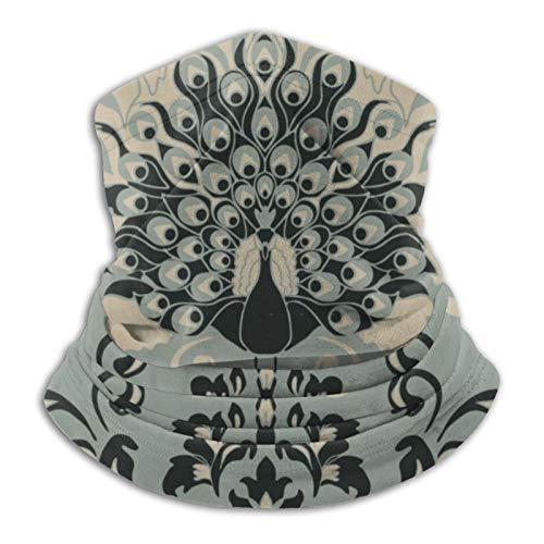 Nicegift Papel tapiz con pavo real sobre fondo gris Bufanda tubular para hombres y mujeres Mascarilla Turbante Pasamontañas Multifuncional Sombreros Calidez para el cuello