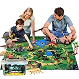 Dinosaur Toys Figures with Large Flannel Activity Play Mat 39.4 x 28 Inch, 30Pcs Realistic Dinosaur Playset Include T-Rex, Triceratops, Trees, Dinosaur Fossils etc for Kids Boys Girls