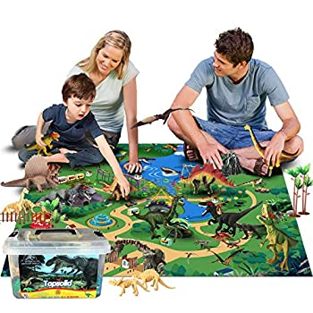 Topsolid Dinosaur Flannel Activity Play Mat and 30pcs Figures Playset