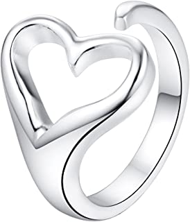 OUBEY Adjustable Love Heart 925 Jewelry Silver Plated Ring Fashion Jewelry Ring For Women