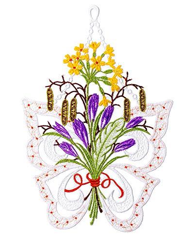 Plauener Spitze Fensterbild mit Schmetterling mit Blumen HXB ca.30 x 20 cm