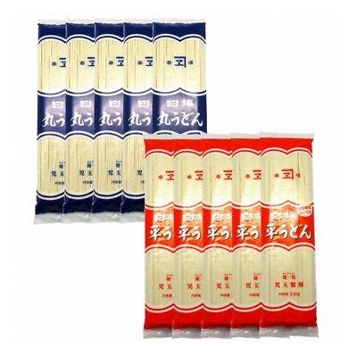 児玉製麺 白梅 丸うどん250g・平うどん250gセット(つゆ付) 計10コ入り