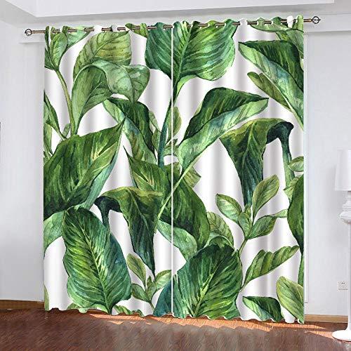 3D Isolierung Schattierung Vorhänge Nordische grüne Blätter 2 Panel fit Kinder Vorhänge Für Wohnzimmer Schlafzimmer Blackout Kinderzimmer Vorhänge 150x166cm