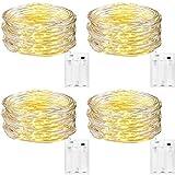 DazSpirit Guirlande Lumineuse [Lot de 4], 5M 50 LEDs Mini Guirlande LED Intérieur et Extérieur Décoration Lumière pour Chambre à Coucher, Mariage, Noël, Fête Blanc Chaud [Classe énergétique A+++]
