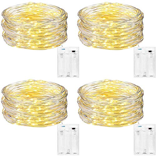 Fairy Lights Battery Powered [4 Pack], DazSpirit 5M 50 LEDs Micro Led String Lights Copper Wire Light Decorative for Bedroom,Wedding,Christmas,Party (Warm White) [Energy Class A+++]