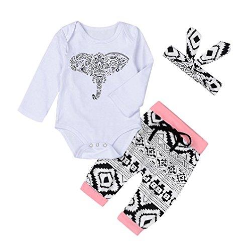 Longra 3PCS Nouveau née Bébé Unisexe Éléphant Imprimé Combinaisons à Manches Longues + Pantalons + Bandeau (12M, Blanc)