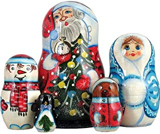 Russia 5 Piece Santa with Tree Nested Doll Set