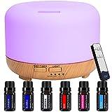 Difusor Aceites Esenciales - GLAMSVILL Ultrasónico Difusor Aromaterapia 300ml Difusor de Aroma humectador,vapor y niebla adjustable,7-Color LED,4 Temporizador para su salon, dormitorio u oficina