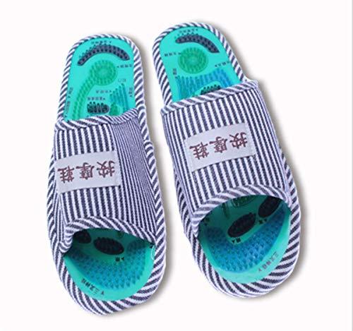 LJT Zapatillas de Masaje de acupresión Unisex, Zapatos de Masaje de Terapia magnética, Zapatos de Masaje relajantes para pies activadores de Sangre para el Cuidado de la Salud,Blue Stripes,One Size