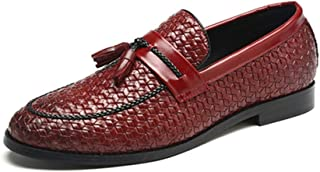 AiHua Huang Driving Loafers for Men Gommino Slip on PU Leather Upper Woven Style Wax Brush Color Pointed Toe Tassels Lightweight Anti Slip (Color : Red, Size : 5 UK)