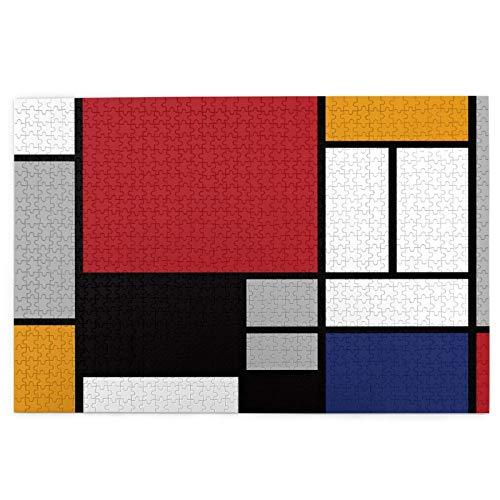 Rompecabezas de 1000 Piezas,Rompecabezas de imágenes,Rectángulo de líneas Mondrian colorido geométrico abstracto,Juguetes puzzle for Adultos niños Interesante Juego Juguete Decoración Para El Hogar