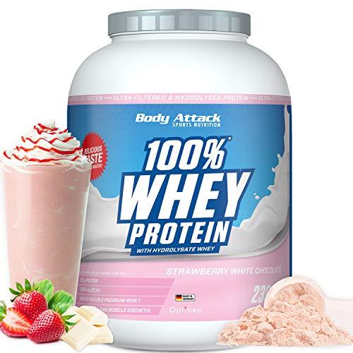 Body Attack - 100{f2efcb31a150b73ce01cf2ee1e923c43ace1a2da1f0faf25f8f8e6b3c1c71d39} Whey Protein, extra cremiges Eiweißpulver mit Hydrolysat und BCAA´s, unterstützt Muskelaufbau und Diäten, für alle Sportler &Athleten -Made in Germany–2,3 kg (Stawberry-White Choc.)