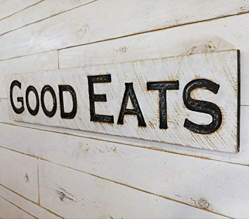 Large GOOD EATS Sign 48 x10 Carved Horizontal Wooden Lumber Rustic Wood Distressed Shabby Style product image