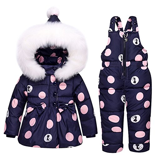 Baby Girls Snowsuit Toddler Puffer Hooded Jacket + Bib Pants 2 Pieces Set Dark Blue 80 Small