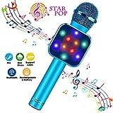 ShinePick Microfono Karaoke Bluetooth, 4 en1 Microfono Karaoke Portatil con Baile de Luces LED para Niños Cantar, Función de Eco,Compatible con PC, AUX o Android/iOS Teléfono Inteligente (Auzl)