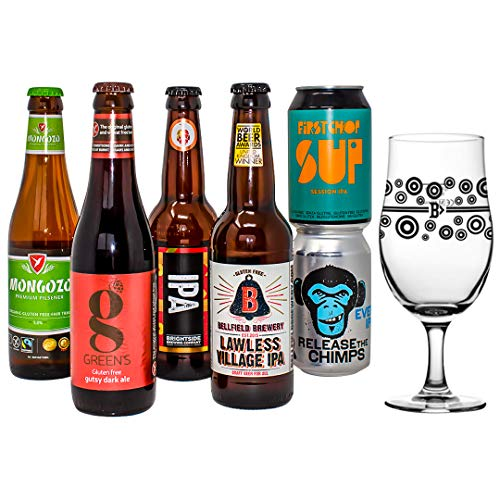 Gluten Free Beer Mixed Case Gift Set Hamper with Official Branded Glass (6 beers) - Perfect for Christmas