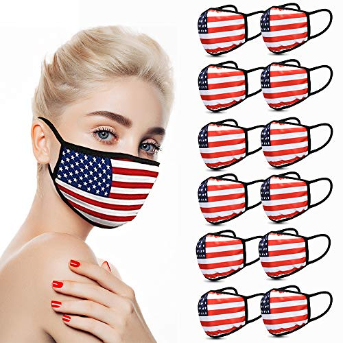 Burlway 12 Pack Cotton Face Reusable with American Flag Print for Cycling Camping Travel for Kids Teens Men Women