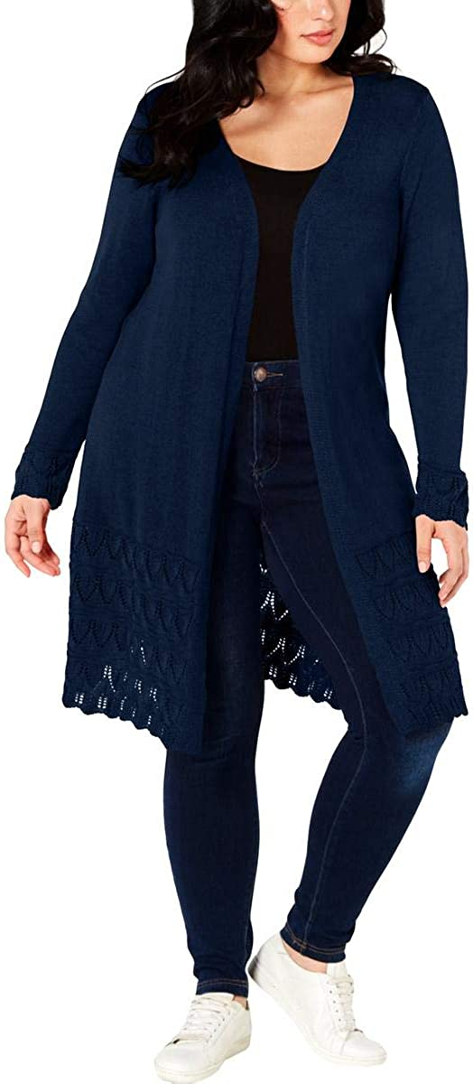 NY Collection Womens Plus Lace Trim Long Cardigan Sweater Black 1X