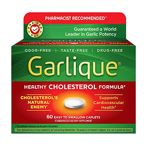 Garlique Healthy Cholesterol Formula with 5000 mcg of Allicin, 60 Enteric Coated Caplets