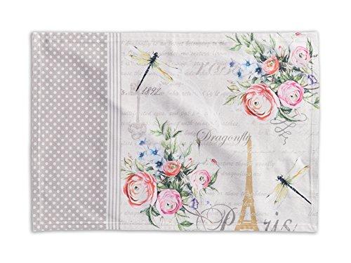 Maison d' Hermine Champ De Mars - Juego de 4 manteles individuales de algodón 100 % para mesa de comedor, cocina, boda, vida cotidiana, cenas, primavera y verano (33 x 48 cm)