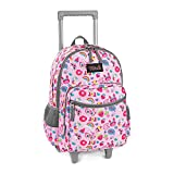 Rolling Backpack 18 inch Double Handle Wheeled Laptop Boys Girls Travel School Children Luggage Toddler Trip, Pink Cat