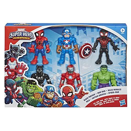 Playskool Heroes Marvel Super Hero Adventures 12.5cm Action Figures Pack of 6 including Spider-Man and Hulk Age 3+