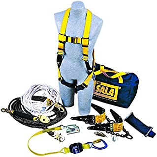3M DBI-SALA 7611904 Roofer's Fall Protection Kit with 50' Horizontal Lifeline, 2 Reusable Roof Anchors, Harness, Rope Adjuster Lanyard and Counterweight, Blue/Yellow