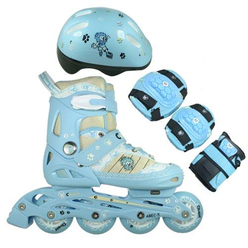 FA Sports Inline Skates-Set für Kinder mit Bremse, Blau, Weiß, Creme, Schwarz, Medium