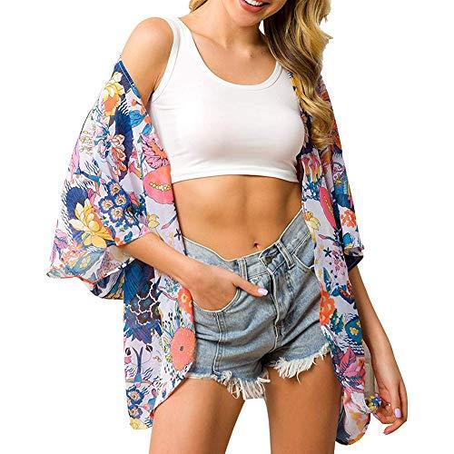Kimono de gasa con estampado floral para mujer - Blanco - Large/X-Large