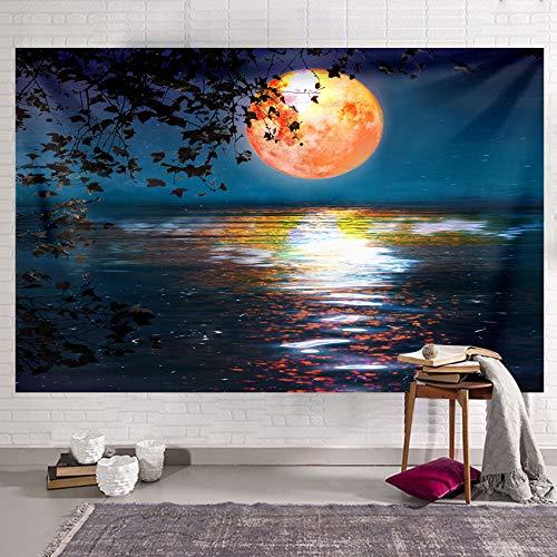 Tapiz de puesta de sol Tapiz para colgar en la pared Hojas y paisaje del lago Tapiz psicodélico Trippy Arte de la pared Decoración para el hogar Ropa de cama Colcha 150x130 cm
