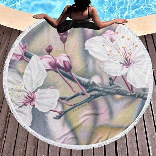 Nobranded Peach Blossom Round Beach Towel-Yoga Towel Shop-Picnic Mat. Soft Fabrics Bring A Comfortable Experience. Fast Drying Speed. 59 Inches