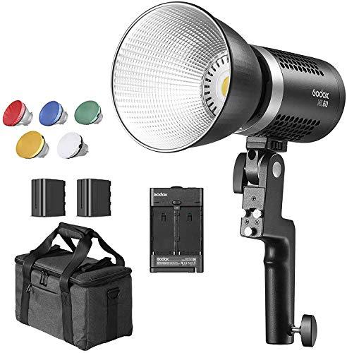 Godox ML60 60W de potencia en sus manos Luz de vídeo LED (Godox-Mount), CRI 96+/TLCI 97+, 8 efectos FX, modo silencioso, 0% ~ 100% ajuste de brillo, con 2 pilas de litio NP970.