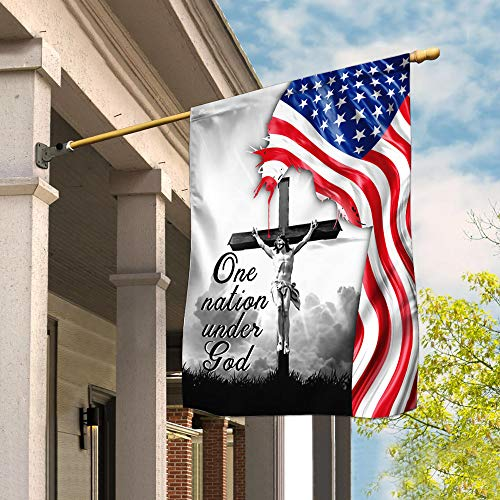 Flags-One Nation Under God. Jesus Christian Cross American Flag THN2224F, House Flag (29.5' x 39.5')-USA House Garden Flags Premium Polyester-Decorative Outdoor Flags