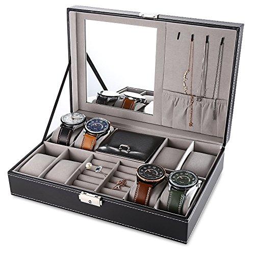 Caja de reloj de 8 ranuras con cojines extraíbles, organizador de joyero, organizador de accesorios pequeños para hombres y mujeres, caja de exhibición de piel sintética, estuche simple con espejo