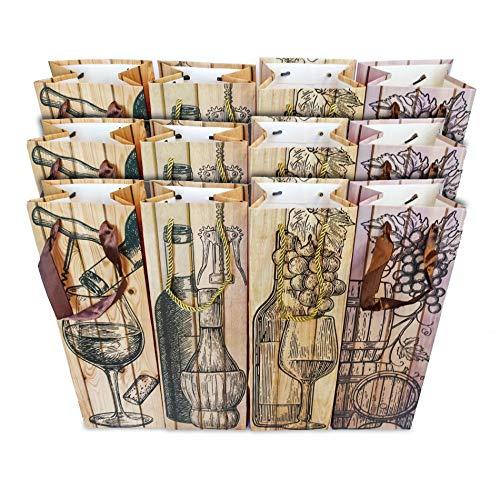 Paquete de 12 Bolsas para Botellas de Vino en Cuatro Modelos Diferentes. Porta Botellas Vino. Porta Vinos. Bonitas, Resistentes y Elegantes. Medidas: 35x11,5x9cm