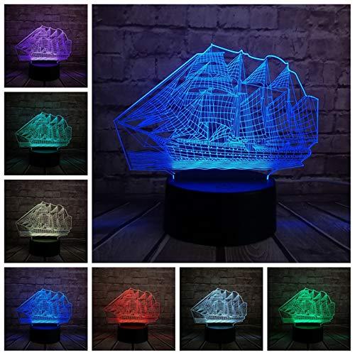 Cadeau pour enfants 3D rétro Antique Bougie Mer Bateau Lampe Led Style Chinois Multicolore Illusion Nuit Lumière Usb Table De Bureau Décoration