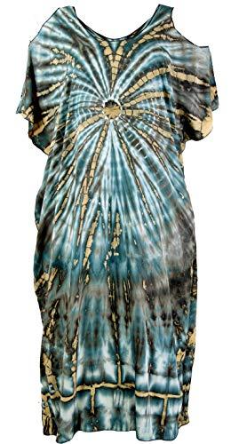 Guru-Shop, Boho Caftan, Lange Korte Mouw Batikjurk, Strandjurk, Zomerjurk in Plusmaat, Blauw, Synthetisch, Size:One Size, Lange Midi-jurken