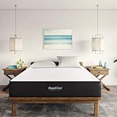 "60"" W x 80"" L x 10.5"" H The Original Cool Gel Product! Luxurious ventilated gel memory foam mattress is a superior choice over other memory foam mattresses Beautifully detailed charcoal gray and white cover has four way stretch knit that works with t..."