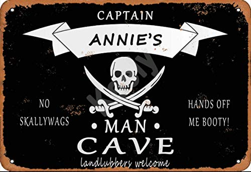 560 WENKLL Pirate Captain Annie'S Man Cave Landlubbers Welcome Metal Sign 8x12inch Pub Shed Bar Man Cave Home Bedroom Office Kitchen Gift