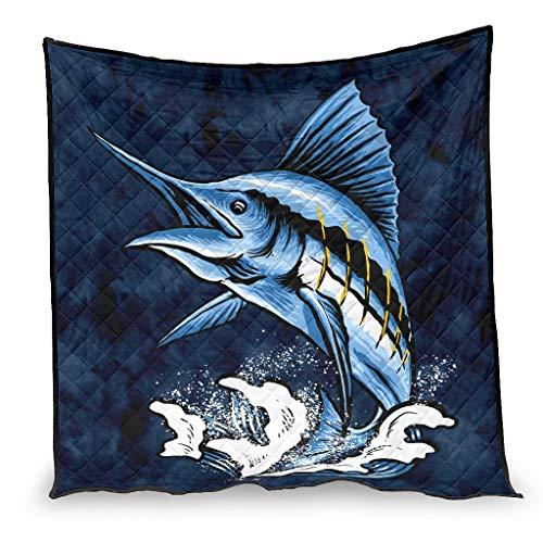 Yzanswer Colcha de verano Marlin Fish Manta de lujo para sofá, dormitorio, oficina, viajes, todas las estaciones, blanco 100 x 150 cm