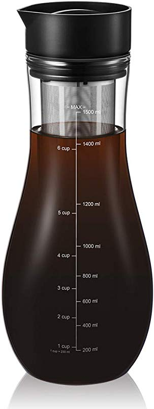 Cold Brew Coffee Maker Glass Cold Brew Maker Pitcher Brewing Glass Carafe With Removable Stainless Steel Filter And Silicone Coaster