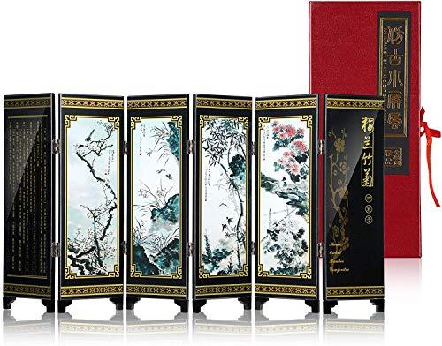 4YANG Zusammenklappbarer Paravent im antiken Stil, kleiner Paravent aus Holz zum Basteln, Ornamente, asiatischer Raumteiler, chinesischer klassischer Stil, Heimdekoration, Tisch, Innenmöbel