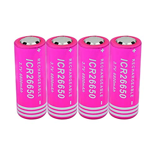 hsvgjsfa BateríAs Li-Ion De Litio De 3.7v 6800mah 26650, Batería Recargable para La Linterna del LED 2PCS