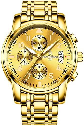 QHG Reloj de Pulsera de Cuarzo analógico para Hombre Reloj de Pulsera analógica numérica Romana (Color : Gold)